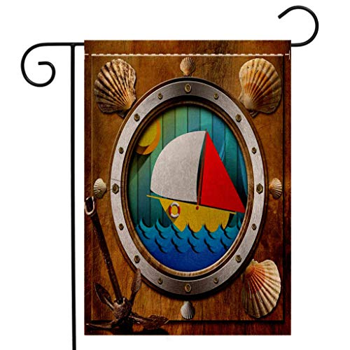 (BEIVIVI Custom Double Sided Seasonal Garden Flag Anchor Metallic Porthole with Bolts Seashells Rusty Anchor and Boat Journey Voyage Activity Garden Flag Waterproof for Party Holiday Home Garden Decor)