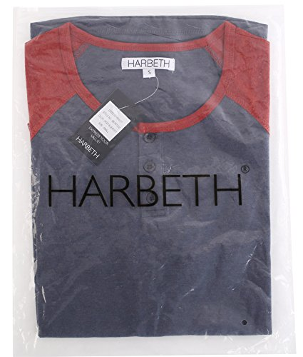 2ecb2074 HARBETH Men's Casual Short Sleeve Henley Shirt Raglan Fit Baseball T-Shirts  Tee