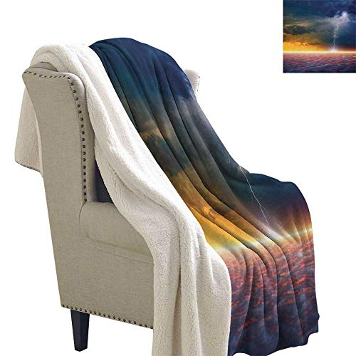 Suchashome Nature Print Summer Quilt Comforter Apocalyptic Sky View End of The World Majestic Mystic Sky Solar and Flames Image Lightweight Fluffy Flannel and Sherpa Blanket 60x32 Inch Orange Blue