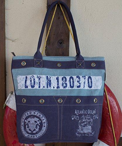 Sunsa, Borsa tote donna Blu Blau 42x39x10 cm