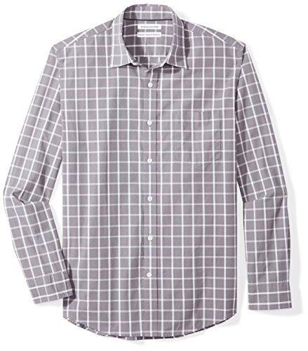 Amazon Essentials Men's Regular-Fit Long-Sleeve Casual Poplin Shirt, grey windowpane, Large