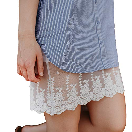 - Boot Cuffs & Socks Dress Skirt Extender with Lace, Cotton Knit Underskirt for Women - Plus (Small, White)