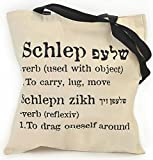 THE ORIGINAL Jewish Cotton-Canvas Hand Shoulder Tote Bag, Yiddish 'Schlep', Barbara Shaw Gifts