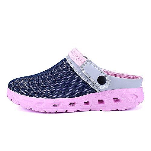 Bwiv Unisex Mesh Clogs Umweltfreundlich Leicht EVA Sohle Mit Schuhe Tasche Größenbereich 36 bis 46 Rosa