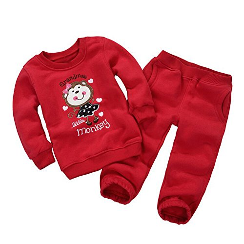 [Mud Kingdom Toddler Girls' Cartoon Fleece Outfits Sweatshirts and Pants Set 3T Grandma's Little] (Monkey Outfits For Toddlers)