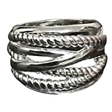 Designer Inspired 18k White Gold Plated Cable Twisted 16mm Wide Ring