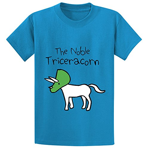 Unicorn The Noble Triceracorn Child Graphic Crew Neck T Shirts Blue (Kids Hobbit Feet)