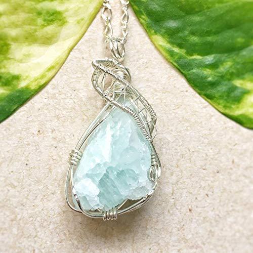 Handmade Raw Light Blue Aquamarine Crystal Sterling Silver Necklace - Raw March Birthstone Jewelry ()