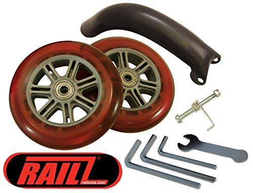 - Razor & RAILZ Scooter Replacement Wheels Set & Brake Kit, Ultra Smooth Bearings, Easy Installation (Red, 100mm)