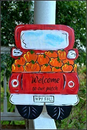 Harvest Sign On Barnwood For Fall Front Porch Decor: Amazon.com: Autumn Welcome Door Sign, Hand Painted Harvest