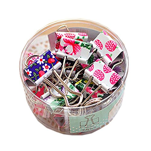 Hot 24 Pieces 25x47mm Cute Flower Printing Metal Binder Clips Paper Clips Paper Holder Clamps File Organizer free shipping