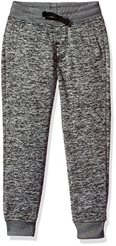 Southpole Little Boys' Jogger Fleece Pants in Basic Marled Colors, Marled Grey (Rubber Logo At Back), Small