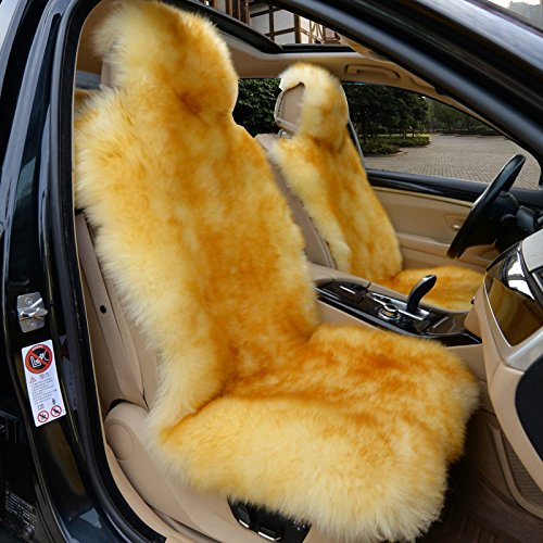 IMQOQ A Pair Genuine Sheepskin Long Wool Car 2 Front Seat Covers Set Winter Warm Universal Gold -