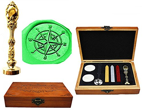 MNYR Compass Luxury Wood Box Gold Metal Peacock Wedding Invitations Gift Cards Paper Stationary Envelope Seals Custom Logo Wax Seal Sealing Stamp Wax Sticks Melting Spoon Wood Gift Box Kit (Luxury Compass)