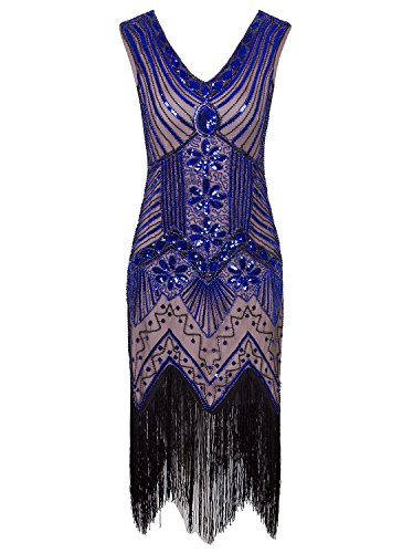 Vijiv Women 1920s Gastby Sequin Art Nouveau Embellished Fringed Cocktail Dresses BEIGE/BLUE,XL