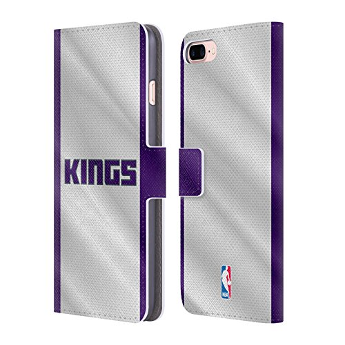 Official NBA Jersey Sacramento Kings Leather Book Wallet Case Cover For Apple iPhone 7 Plus / 8 Plus (Sacramento Nba Leather Kings)
