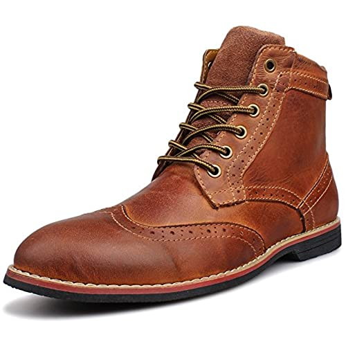 Kunsto Men's Leather Classic Brogue Boots Lace up US Size 10.5 Brown