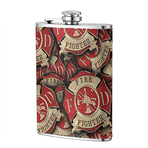 Yisili Fire Fighter Pattern Hip Flask for Liquor Flask Wine Flagon Mug Funny Novelty 8oz