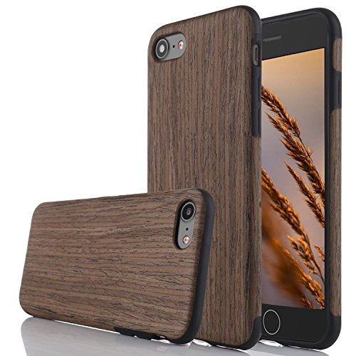 for iPhone 5S Case/iPhone SE Case,L-FADNUT Premuim Handmade Wooden Hybrid Back Flexible TPU Silicone Ultra Slim Back Case,Shock Absorbing Bumper Protective Case Cover-Black Rose Wood