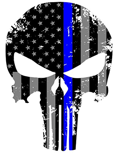 K9King Punisher Skull 5.5 x 4 Inch Tattered Subdued Us Flag Reflective Decal with Thin Blue Line