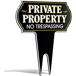 Signs Authority ultra reflective metal yard sign private property no trespassing sign, protect your home, safety and privacy warning sign 15 inches high by 12 inches wide