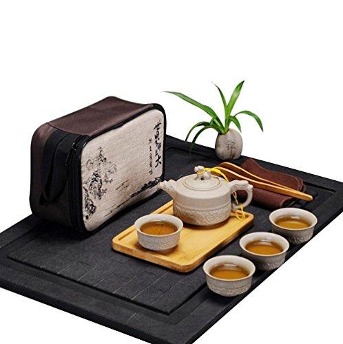 Hoobar Chinese / Japanese Kungfu Tea Set Portable Travel Tea Set Porcelain Teapot, Teacups, Bamboo Tea Tray, Tea Mat with a Travel Bag Dragon Pattern (4 Cups)