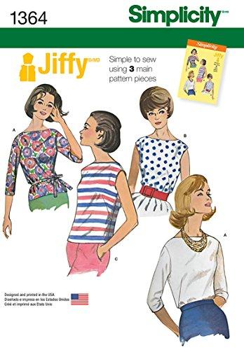 Simplicity Jiffy Pattern 1364 Misses' Vintage  Blouses and Tie Belt, U5 (16-18-20-22-24)