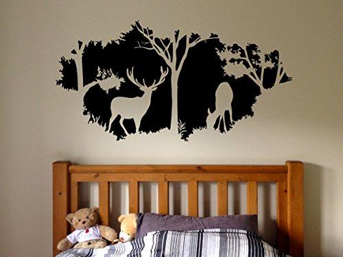 Wall Window Sticker Decal Deer Forest Elk Animal Horns Country Hunting Gun Hunter Boys Bedroom 1286b