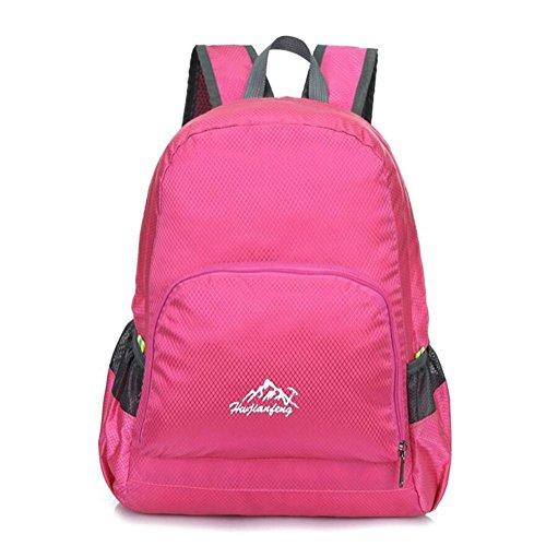 Los hombres de hombro del morral al aire libre del alpinismo bolsa y mujeres de gran capacidad viajes de ocio plegable , pink Pink
