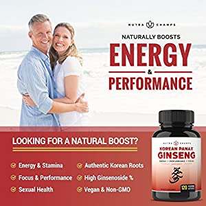 NutraChamps Korean Red Panax Ginseng 1000mg - 120 Vegan Capsules Extra Strength Root Extract Powder Supplement w/ High Ginsenosides for Energy, Performance & Mental Health Pills for Men & Women