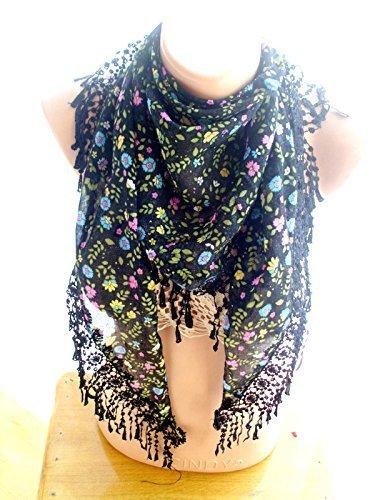 Amazoncom Crochet Lace Scarf Black Scarf Floral Wrap Cotton Gauze