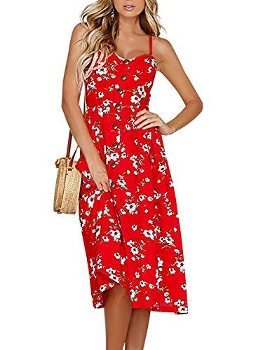 Exlura Women's Dresses Summer Floral Sundress Swing Beach Dress with ()