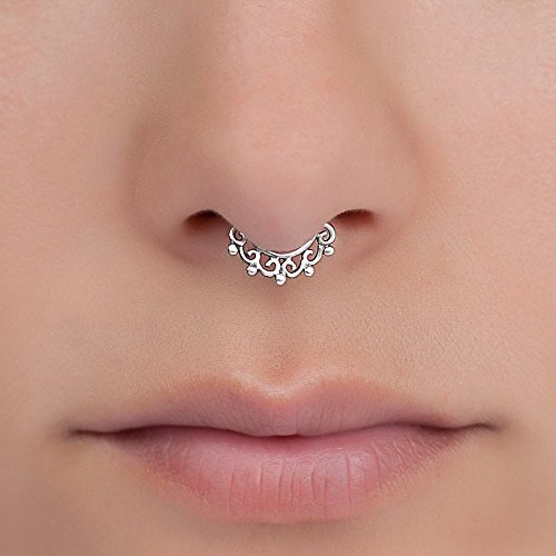 Fake Septum Nose Ring, Sterling Silver Tribal Faux Clip On Non Pierced Septum Cuff, 18g, Handmade Designer Piercing Jewelry (Tribal Ring Fake Septum)