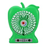 Lznlink Fashion Portable Fans Apple Shape Plastic Rechargeable Office Travel Mini USB Electric Fan With Bracket