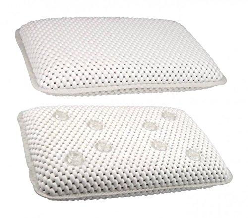 Takestop® Cojín suave para bañera baño con ventosas reposacabezas Reposa cabeza blanco impermeable 29x 19x 5cm piscina Relax