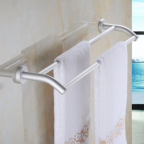 Aluminum Alloy 50cm Space Double Holder Towel Rails - 2