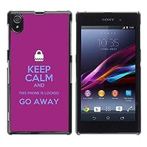 For Sony Xperia Z1 / L39H / C6902 / C6903 / C6906 / C6916 / C6943 Case , Locked Padlock Purple Text Hands - Diseño Patrón Teléfono Caso Cubierta Case Bumper Duro Protección Case Cover Funda