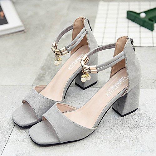 RUGAI-UE Sandalias de tacón grueso Boca de Pescado de Verano Mujer Zapatos High-Heeled Gray