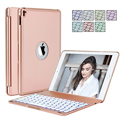 Price comparison product image FKANT iPad Pro 9.7 Inches Case | Bluetooth Wireless Keyboard Folio With 7 Backlit Colors | Scratchproof & Dust Proof Aluminium Alloy | 130° Screen Rotation & Silence Typing | Easy Access To All Ports