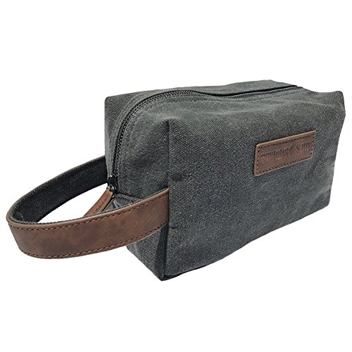 Canvas Travel Toiletry Organizer Shaving Dopp Kit by Sawdust + Oil 9-inch Cosmetic Makeup Bag Shaving Kit Dopp Bag for Men or Women Travel Kit Weekender Tote Groomsmen Gift Fathers Day (Charcoal Gray)