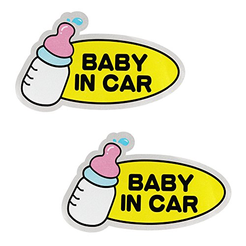Magnetic Baby in Car Sign by Accmor, Baby on Board Sticker, Waterproof Safety Car Sticker, Big Size(2 Pack)
