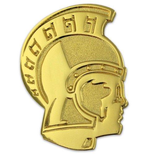 PinMart's Gold Chenille TROJAN Mascot Letterman's Jacket Lapel Pin 1
