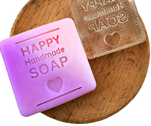 - Happy Handmade Soap Making Stamp Heart Shape Clear DIY Natural Organic Glass Soap Making Seal Acrylic Chapter with Handle