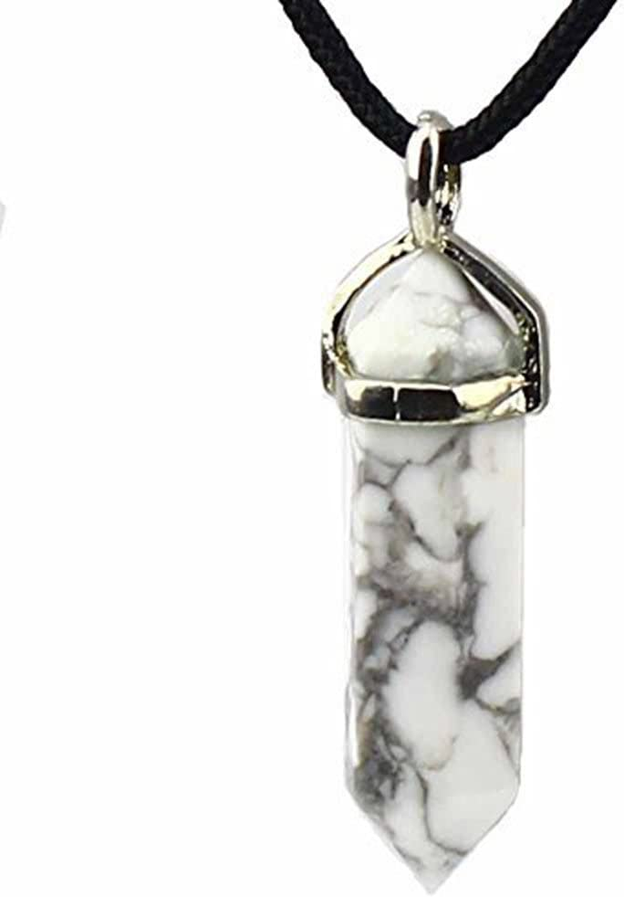 Piedra preciosa de cristal de piedra talladas de seis de la pirámide de cuarzo de Chakra collar con colgante de la astilla