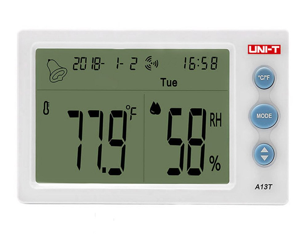 Chengfeng Indoor Hygrometer Thermometer, Digital Temperature Humidity Monitor, With 4.3 inch Large LCD Display, Alarm Clock Date and Time For Home Office Warehouse Hotel