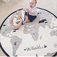 GABWE World Map Rug Round Kids Crawling Mats Child Activity Round Carpet(Diameter 53 inches)