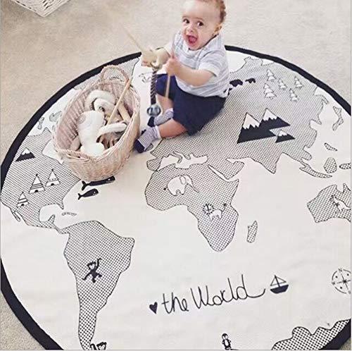 GABWE Adventure World Map Round Rug Baby Crawling Mats Child Activity Round Carpet (Diameter 53 inches)