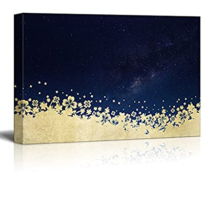 Canvas Print Wall Art - Golden Floral Patterns with The Galaxy - Gallery Wrap Modern Home Art | Ready to Hang - 12