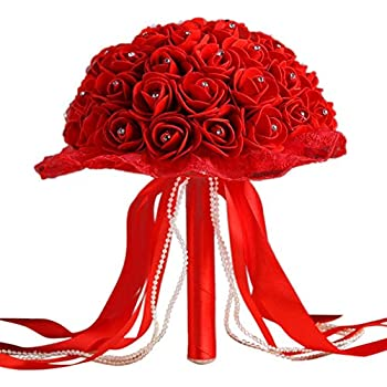 Amazon.com  AerWo Bridal Bouquets - Red Wedding Flower Bouquet ... 4405da760