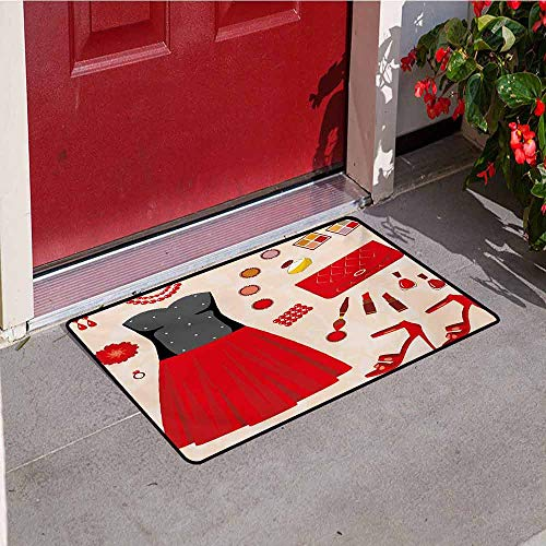 Heel Inlet - Jinguizi Heels and Dresses Inlet Outdoor Door mat Party Clothes and Cosmetics Make Up Feminine Art Evening Dress Collection Catch dust Snow and mud W31.5 x L47.2 Inch Multicolor